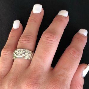 Coach Miranda White Enamel Signature Ring size 6